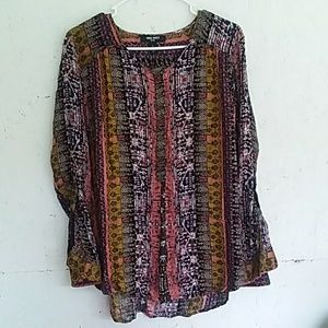 Nine West Lucy Boho Tribal Top Flowy Button Sleeve